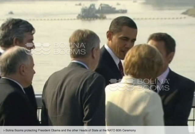 Bolina Booms protecting President Obama and the other Heads of State at the NATO 60th Ceremony.