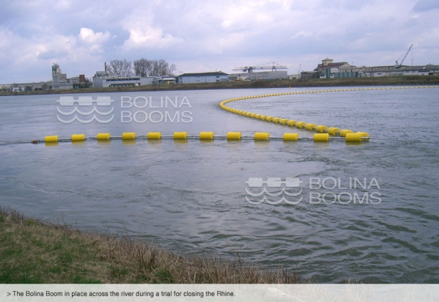 The Bolina Bbooms in place across the river during a trial for closing the Rhine.